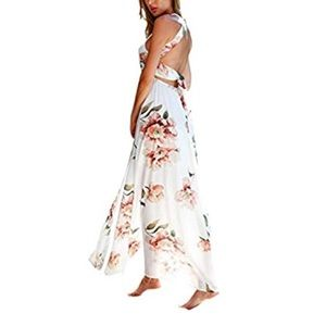 Plus Size Front Slit Floral OffShoulder Maxi Dress